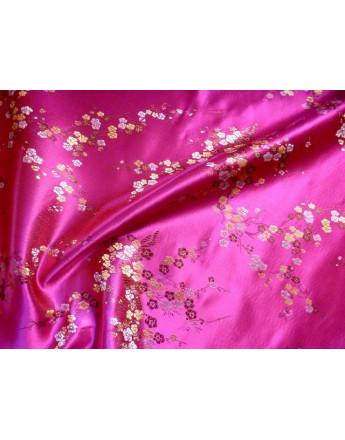 Tissu Chinois Fleurs Turquoise