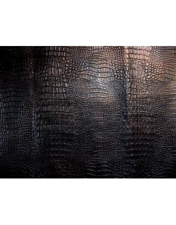 Tissu Simili Cuir Crocodile Marron épais