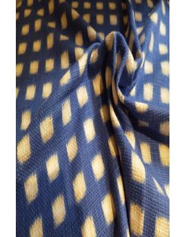 Tissu 100% Lin  Imprimé Carré Jaune  Sur Fond Bleu