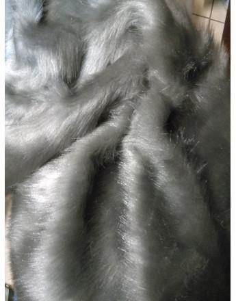 Tissu fausse fourrure poile court gris argenté
