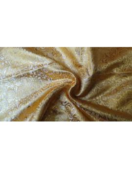 Tissu Brocart Imprime Fleurs Jaune 02