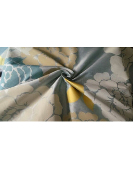 Taffetas Imprimé Fleur fond bleu