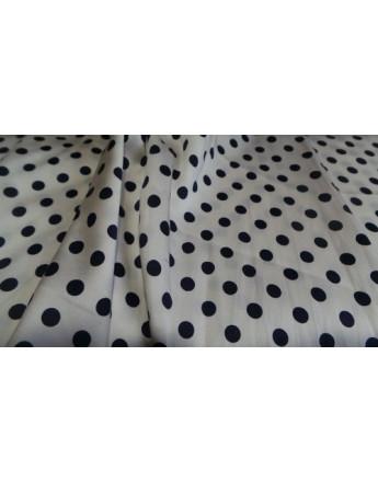 Tissu Satin polyester pois noir