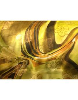 Tissu mousseline de soie imprimé fleur or