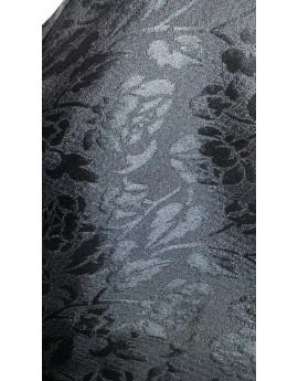 Tissu Brocart Fleur Noir Elastane Soie