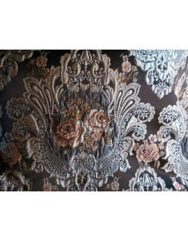 Tissu Brocart Fleur marron