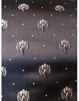 Tissu Brocart Marron fleurs