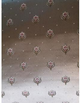 Tissu Brocart Fleur marron clair
