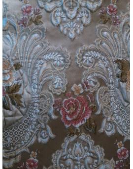 Tissu Brocart Fleur Beige clair
