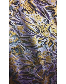 Tissu Brocart Fleur Jaune Fond Parme.