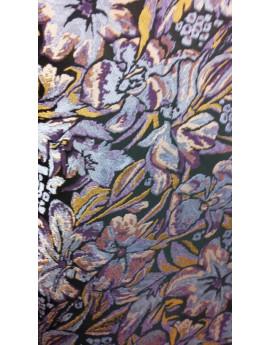 Tissu Brocart Fleur Fond Noir.