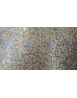 Tissu Brocart Or Double Face Bleu