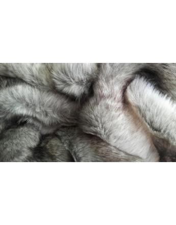 Tissu Fausse Fourrure Loup Blanc Cassé et Gris
