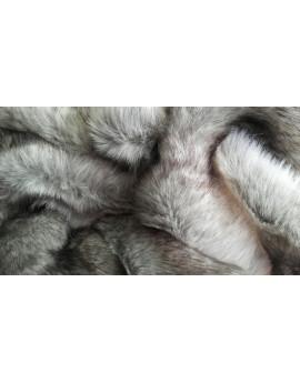 Tissu Fausse Fourrure Loup Blanc Cassé et Gris Chiné