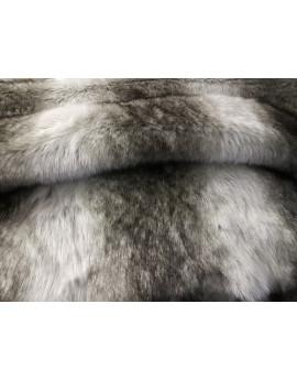 Tissu Fausse Fourrure Loup fond Gris Chiné