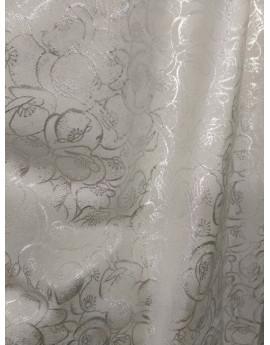 Tissu Brocart Blanc Fleur
