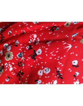 Tissu viscose fleurs rouge