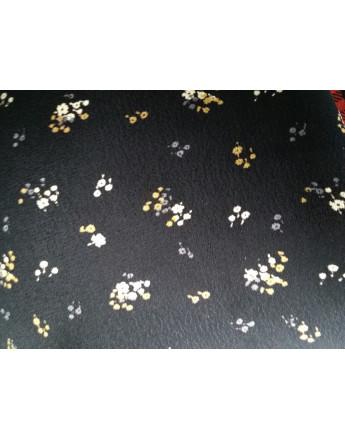 Tissu viscose fleurs noir