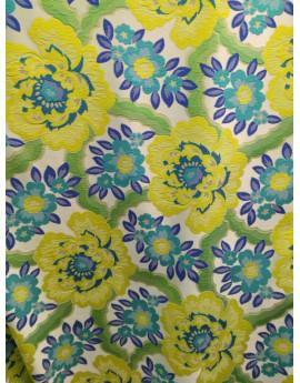 Tissu Jacquat imprimée fleurs jaune avec fond bleu