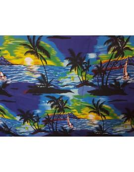 Tissu Hawaii Bleu