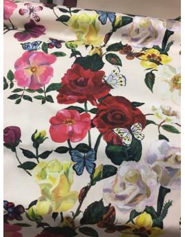Tissu Coton Grosses Fleurs et Papillons