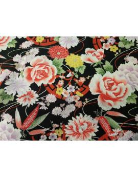 Tissu Japonais Fond Noir