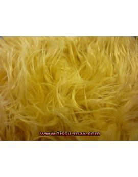 Tissu Fausse Fourrure Jaune Poils Longs