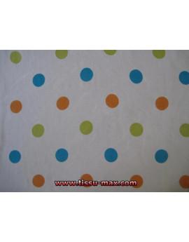 Mousseline Blanche Pois multicolore A000
