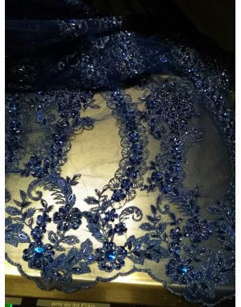 Tulle perlée bleu marine