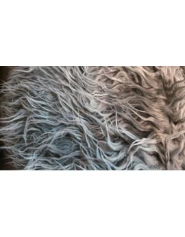 Tissu Fausse Fourrure Poils Longs Gris frisé