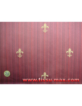 Tissu Fleurs de Lys avec Rayures Fond Rouge