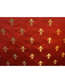 Tissu Fleurs de Lys Fond Rouge
