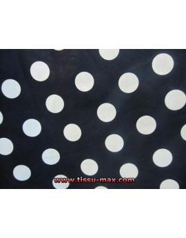 Tissu Gros Pois Blancs Fond Noir