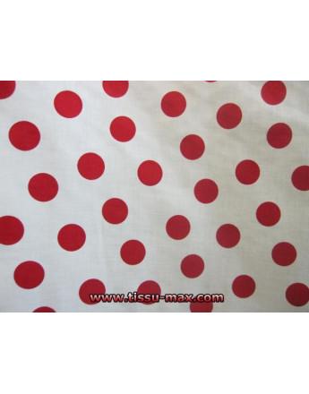 Tissu Gros Pois Rouges Fond Blanc