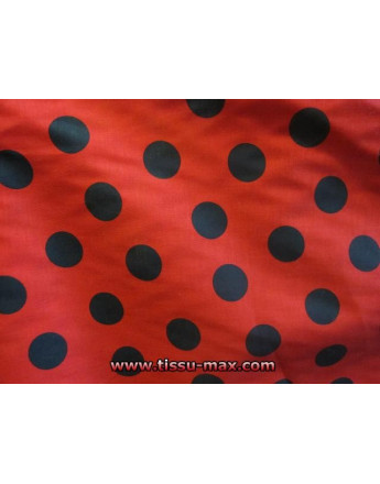 Tissu Gros Pois Noirs Fond Rouge
