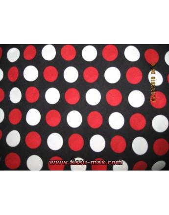 Pois Rouge / Blanc sur Fond Noir A000