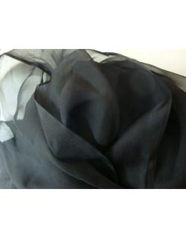 Mousseline de Soie Plissé Noir