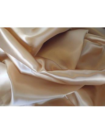Tissu Satin Polyester Elastique Beige