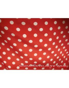 Tissu Pois Fond Rouge 01